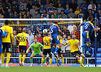 4th September 2021; Merton, London, England;  EFL Championship football, AFC Wimbledon versus Oxford City: Will Nightingale of AFC Wimbledon climbs to win the header and score his sides 2nd goal in the 78th minute to make it 2-1