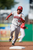 Auburn Doubledays catcher Wilmer Perez (45) runs the bases during a game against the Batavia Muckdogs on September 2, 2018 at Dwyer Stadium in Batavia, New York.  Batavia defeated Auburn 5-4.  (Mike Janes/Four Seam Images)