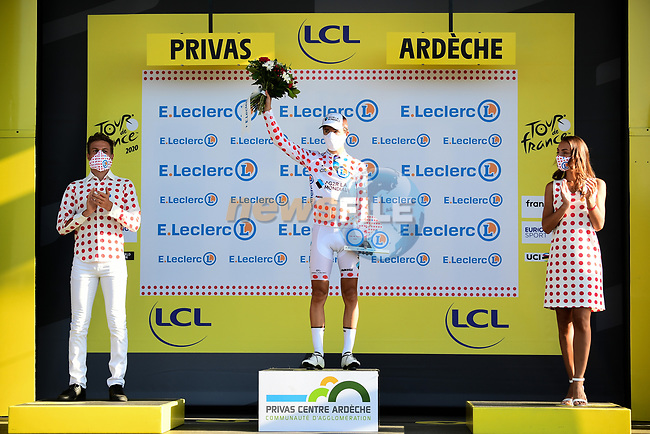 Benoit Cosnefroy (FRA) AG2R La Mondial retains the mountains Polka Dot Jersey at the end of Stage 5 of Tour de France 2020, running 183km from Gap to Privas, France. 2nd September 2020.<br /> Picture: ASO/Alex Broadway | Cyclefile<br /> All photos usage must carry mandatory copyright credit (© Cyclefile | ASO/Alex Broadway)