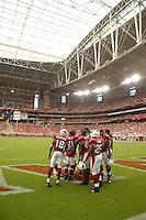 Aug 18, 2007; Glendale, AZ, USA; Arizona Cardinals players huddle up prior to the game against the Houston Texans at University of Phoenix Stadium. Mandatory Credit: Mark J. Rebilas-US PRESSWIRE Copyright © 2007 Mark J. Rebilas