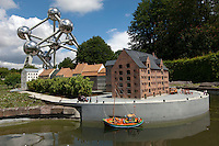 Miniature model village and the Atomium monument in Heysel Park, Brussels, Belgium