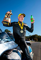Sep 15, 2019; Mohnton, PA, USA; NHRA pro stock motorcycle rider Jerry Savoie celebrates after winning the Reading Nationals at Maple Grove Raceway. Mandatory Credit: Mark J. Rebilas-USA TODAY Sports