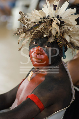 """Altamira, Brazil. """"Xingu Vivo Para Sempre"""" protest meeting about the proposed Belo Monte hydroeletric dam and other dams on the Xingu river and its tributaries. Ikepeng Indian."""