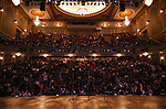 "The stage and student audience for The Rockefeller Foundation and The Gilder Lehrman Institute of American History sponsored High School student #EduHam matinee performance of ""Hamilton"" at the Richard Rodgers Theatre on October 24, 2018 in New York City."