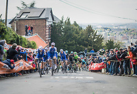Team Quickstep Floors setting the pace up on the infamous Mur de Huy on the 2nd run up in service of team leader Dan Martin (IRE/Quickstep Floors)<br /> <br /> 81st La Flèche Wallonne (1.UWT)<br /> One Day Race: Binche › Huy (200.5km)