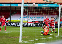 10th January 2021; Broadfield Stadium, Crawley, Sussex, England; English FA Cup Football, Crawley Town versus Leeds United; Crawley keeper Morris watches as a Leeds shot goes narrowly wide of his back post