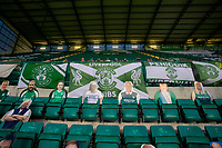 15th November 2020; Easter Road, Edinburgh, Scotland; Scottish League Cup Football, Hibernian versus Dundee FC; Flags and cardboard cutouts take the place of fans due to the pandemic