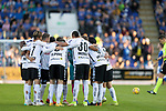 St Johnstone v Lask…26.08.21  McDiarmid Park    Europa Conference League Qualifier<br />The Lask players gather in ahuddle just before kick off<br />Picture by Graeme Hart.<br />Copyright Perthshire Picture Agency<br />Tel: 01738 623350  Mobile: 07990 594431