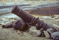 Khasab, Oman, 1985.  Old Cannon outside Khasab Fort prior to restoration.