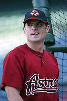 Chris Burke of the Houston Astros during batting practice before a game from the 2007 season at Angel Stadium in Anaheim, California. (Larry Goren/Four Seam Images)