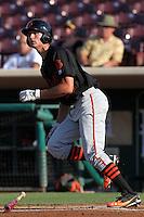 San Jose Giants outfielder Jarrett Parker #28 bats against the Inland Empire 66'ers at Arrowhead Credit Union Park on July 31, 2011 in San Bernardino,California. San Jose defeated Inland Empire 6-3.(Larry Goren/Four Seam Images)