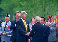 President Clinton and VP Al Gore at the dedication of the Korean Veterans War Memorial in Washington DC, 8 95. President Bill Clinton, V.P. Al Gore. Washington DC USA.