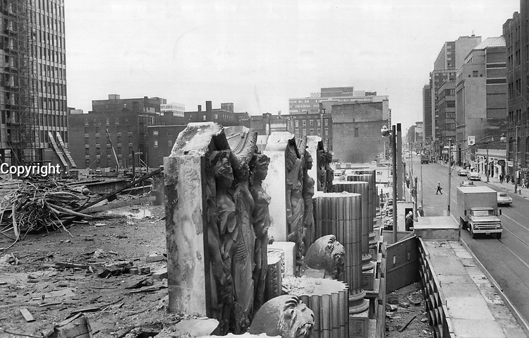 1966 FILE PHOTO - ARCHIVES -<br /> <br /> Bank figures add up beautifully; The classical stone figures on the old Toronto-Dominion bank at King and Bay Sts. still stand; though the rest of the building has been reduced to rubble to make way for the T-D Centre and the 56-storey tower.