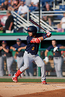 State College Spikes Jonatan Machado (3) at bat during a NY-Penn League game against the Batavia Muckdogs on July 3, 2019 at Dwyer Stadium in Batavia, New York.  State College defeated Batavia 6-4.  (Mike Janes/Four Seam Images)
