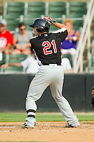 Nick Vickerson (21) of the Hickory Crawdads at bat against the Kannapolis Intimidators at CMC-Northeast Stadium on July 28, 2013 in Kannapolis, North Carolina.  The Crawdads defeated the Intimidators 6-1.  (Brian Westerholt/Four Seam Images)