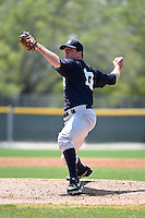 Pitcher Zach Varce (19) of the New York Yankees organization during a minor league spring training game against the Pittsburgh Pirates on March 22, 2014 at Pirate City in Bradenton, Florida.  (Mike Janes/Four Seam Images)
