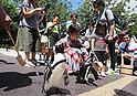 Visitors of Aqua Park Shinagawa aquarium sprinkle water on the ground as temperature rose to 35C