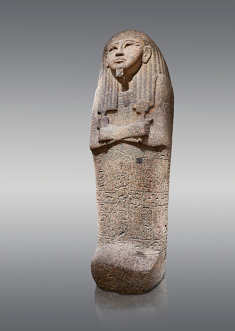 Ancient Egyptian sarcophagus lid of Djehutymes, pink granite, 19th Dynasty (1279-1213 BC.) Thebes, Khokha, TT32. Egyptian Museum, Turin. Grey background<br /> <br /> The lid of the coffin of Djehutymes, husband of singer Asset