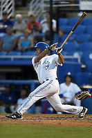 Dunedin Blue Jays catcher Jorge Saez (12) at bat during a game against the Bradenton Marauders on April 14, 2015 at Florida Auto Exchange Stadium in Dunedin, Florida.  Bradenton defeated Dunedin 7-1.  (Mike Janes/Four Seam Images)