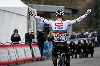 CX world champion Mathieu Van der Poel (NED/Alpecin-Fenix) winning the 2021 Flandriencross Hamme (BEL)<br /> <br /> ©kramon