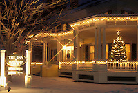 AJ4655, Christmas, inn, Vermont, X-mas, Xmas, White lights decorate the Montpelier Inn for the holiday Christmas season in Montpelier in Washington County in the state of Vermont.