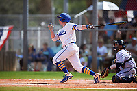 South Dakota State Jackrabbits Korey Kuhlmann (22) bats during a game against the FIU Panthers on February 23, 2019 at North Charlotte Regional Park in Port Charlotte, Florida.  South Dakota State defeated FIU 4-3.  (Mike Janes/Four Seam Images)