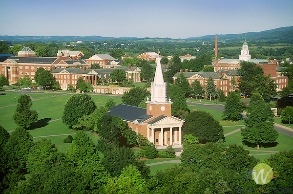 Bucknell University aerial with Rooke Chapel in foreground. 1997