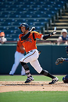 Bowie Baysox Zach Jarrett (23) bats during an Eastern League game against the Binghamton Rumble Ponies on August 21, 2019 at Prince George's Stadium in Bowie, Maryland.  Bowie defeated Binghamton 7-6 in ten innings.  (Mike Janes/Four Seam Images)