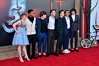 "LOS ANGELES, USA. August 27, 2019: Sophia Lillis, Chosen Jacobs, Jeremy Ray Taylor, Wyatt Oleff, Jaeden Martell, Jack Dylan Grazer & Finn Wolfhard at the premiere of ""IT Chapter Two"" at the Regency Village Theatre.<br /> Picture: Paul Smith/Featureflash"