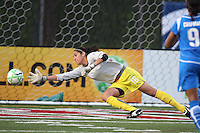 Allison Lipsher dives to make a save in a match against the FC Gold Pride.  Boston Breakers tied FC Gold Pride 1-1 on June 17, 2009.