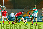 David Mangan, Mid Kerry in action against Paul Murphy, East Kerry during the Kerry County Senior Football Championship Final match between East Kerry and Mid Kerry at Austin Stack Park in Tralee on Saturday night.