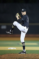 Wake Forest Demon Deacons relief pitcher William Fleming (38) in action against the Virginia Cavaliers at David F. Couch Ballpark on May 18, 2018 in  Winston-Salem, North Carolina.  The Cavaliers defeated the Demon Deacons 15-3.  (Brian Westerholt/Four Seam Images)
