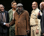 """Douglas Turner Ward, Charles Fuller and David Alan Grier with Kenny Leon During the Broadway Opening Night Curtain Call Bows for The Roundabout Theatre Company's """"A Soldier's Play""""  at the American Airlines Theatre on January 21, 2020 in New York City."""