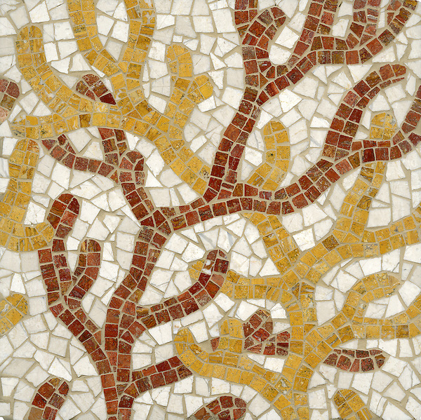 Coral, a hand cut stone mosaic shown in Red Travertine, Persian Gold and Bursa Beige, is part of the Erin Adams Collection for New Ravenna.
