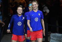 Saint Paul, MN - SEPTEMBER 03: Emily Sonnett #14, Samantha Mewis #3 of the United States during their 2019 Victory Tour match versus Portugal at Allianz Field, on September 03, 2019 in Saint Paul, Minnesota.