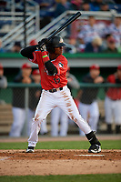 Batavia Muckdogs Dalvy Rosario (17) bats during a NY-Penn League game against the Auburn Doubledays on June 14, 2019 at Dwyer Stadium in Batavia, New York.  Batavia defeated 2-0.  (Mike Janes/Four Seam Images)