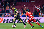Fabio Coentrao of Sporting CP (L) fights for the ball with Angel Correa of Atletico de Madrid (R) during the UEFA Europa League quarter final leg one match between Atletico Madrid and Sporting CP at Wanda Metropolitano on April 5, 2018 in Madrid, Spain. Photo by Diego Souto / Power Sport Images