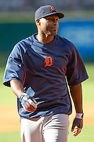 Detroit Tigers outfielder Torii Hunter (48) warms up prior to the MLB baseball game against the Houston Astros on May 3, 2013 at Minute Maid Park in Houston, Texas. Detroit defeated Houston 4-3. (Andrew Woolley/Four Seam Images).