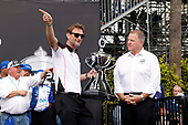 David Salters President, Honda Performance Development receives the Manufacturers Championship trophy