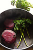 The beetroot is the taproot portion of the beet plant, also known in North America as the table beet, garden beet, red or golden beet, or informally simply as the beet. It is several of the cultivated varieties of beet (Beta vulgaris) grown for their edible taproots and their greens. <br /> <br /> Other than as a food, its uses include food coloring and as a medicinal plant. Many beet products are made from other Beta vulgaris varieties, particularly sugar beet.<br /> <br /> Beetroot can be peeled, steamed, and then eaten warm with butter as a delicacy; cooked, pickled, and then eaten cold as a condiment; or peeled, shredded raw, and then eaten as a salad. Pickled beets are a traditional food of the American South, and are often served on a hamburger in Australia, New Zealand, and the United Arab Emirates.<br /> <br /> Stock Photo by Paddy Bergin