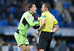 St Johnstone v Partick Thistle…27.01.18…  McDiarmid Park…  SPFL<br />Tomas Cerny shoves referee Gavin Duncan after conceding a penalty<br />Picture by Graeme Hart. <br />Copyright Perthshire Picture Agency<br />Tel: 01738 623350  Mobile: 07990 594431