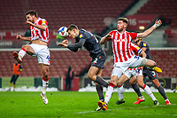 29th December 2020; Bet365 Stadium, Stoke, Staffordshire, England; English Football League Championship Football, Stoke City versus Nottingham Forest; Ryan Yates of Nottingham Forest gets down and heads the ball