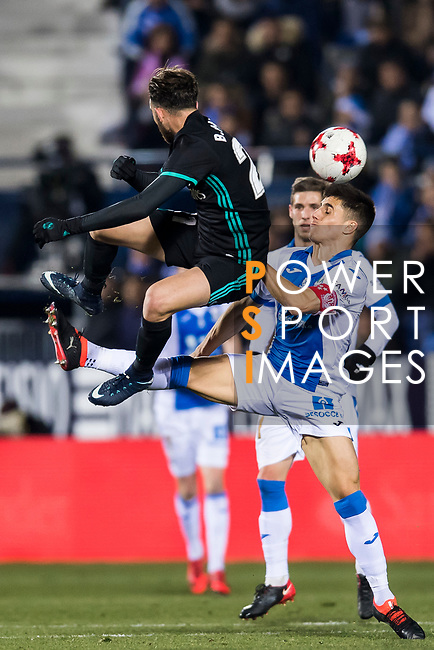 Borja Mayoral Moya (L) of Real Madrid fights for the ball with Unai Bustinza of CD Leganes during the Copa del Rey 2017-18 match between CD Leganes and Real Madrid at Estadio Municipal Butarque on 18 January 2018 in Leganes, Spain. Photo by Diego Gonzalez / Power Sport Images