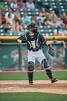 Joe Hudson (19) of the Salt Lake Bees during the game against the  El Paso Chihuahuas at Smith's Ballpark on July 5, 2018 in Salt Lake City, Utah. El Paso defeated Salt Lake 3-2. (Stephen Smith/Four Seam Images)