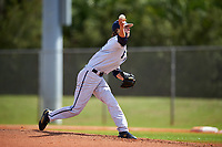FIU Panthers starting pitcher Nick MacDonald (1) during a game against the South Dakota State Jackrabbits on February 23, 2019 at North Charlotte Regional Park in Port Charlotte, Florida.  South Dakota defeated FIU 4-3.  (Mike Janes/Four Seam Images)
