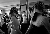 Djamal and Fatme's friends and relatives are dancing during the celebration of the wedding ceremony in the local restaurant in the village of Ribnovo, some 200 km from Sofia, Bulgaria.