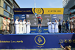 Quentin Valognes (FRA) Team Novo Nordisk wins the UAE Jersey at the end of Stage 5 The Meraas Stage final stage of the Dubai Tour 2018 the Dubai Tour's 5th edition, running 132km from Skydive Dubai to City Walk, Dubai, United Arab Emirates. 10th February 2018.<br /> Picture: LaPresse/Massimo Paolone | Cyclefile<br /> <br /> <br /> All photos usage must carry mandatory copyright credit (© Cyclefile | LaPresse/Massimo Paolone)