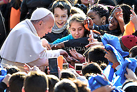 """Pope Francis during pastoral visit to the Roman Parish """"Santa Maria Madre del Redentore a Tor Bella Monaca"""" on March 8, 2015 in Rome."""