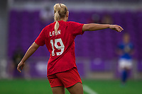 ORLANDO, FL - FEBRUARY 24: Adriana Leon #19 of the CANWNT calls for the ball during a game between Brazil and Canada at Exploria Stadium on February 24, 2021 in Orlando, Florida.