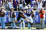 Oklahoma State Cowboys tight end Blake Jarwin (47) and TCU Horned Frogs safety Derrick Kindred (26) in action during the game between the OSU Cowboys and the TCU Horned Frogs at the Amon G. Carter Stadium in Fort Worth, Texas. TCU defeated OSU 42 to 9.